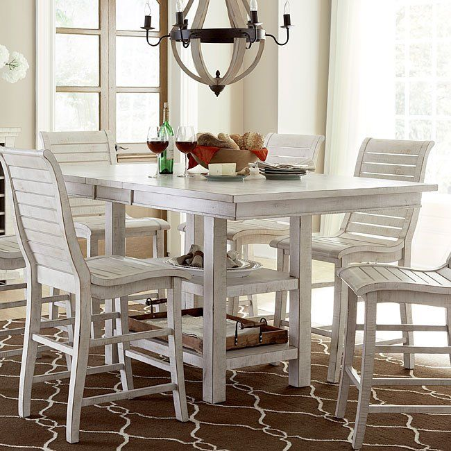 Willow Rectangular Counter Height Table (Distressed White)