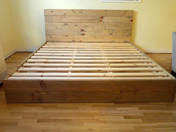 Wood Platform Bed Frame and Headboard   Simple Bed Frame   Bedroom Furniture   Rustic and Modern Bed Frame   Wood Bedroom Furniture