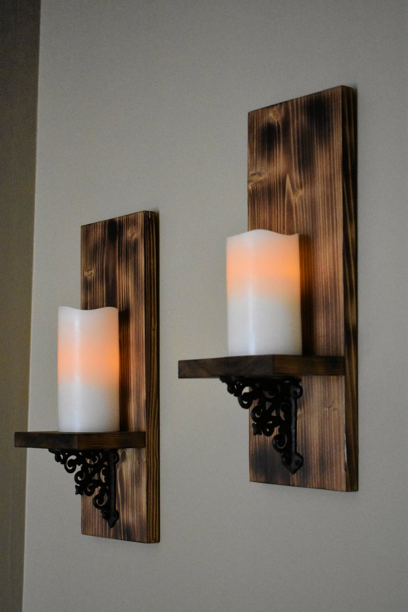 Wooden Candle Sconce, Rustic Wall Decor, Wall Candle Holder, Wood Decor, Wall Light, Candle Shelf, Rustic Home Decor, Rustic Wall Sconce