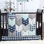 Woodland Trail 6 Piece Forest Animal Theme Patchwork Baby Boy Crib Bedding Set - Navy Blue Pl...
