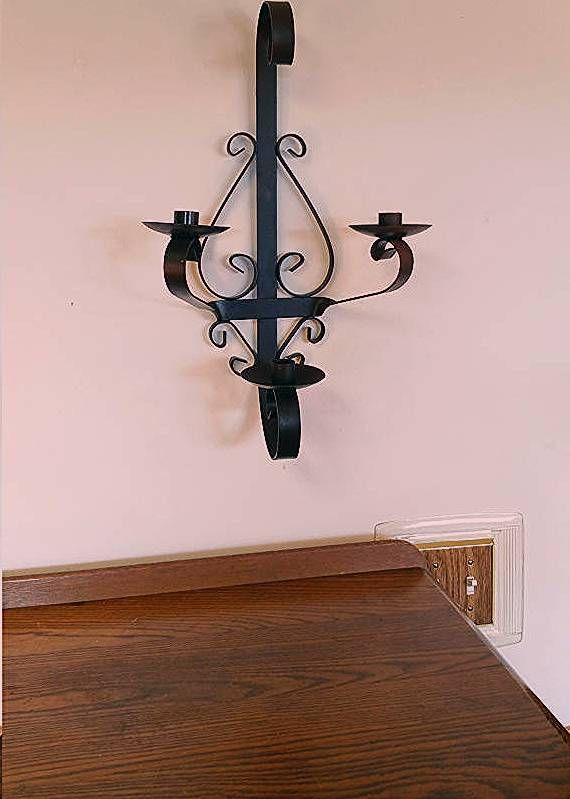 Wrought IRON  Metal WALL SCONCE Candle (3) Three Holder Gothic Vintage Wall Deco…