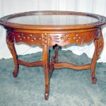 antique accent tables with removable glass top   Nice Antique Glass Top Walnut T...