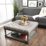 fabric storage ottoman coffee table Download-Furniture Gray Fabric Tufted Ottoman With Under ...