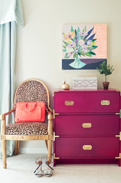julie • leah – thedecorista:  the perfect pink and gold dresser.