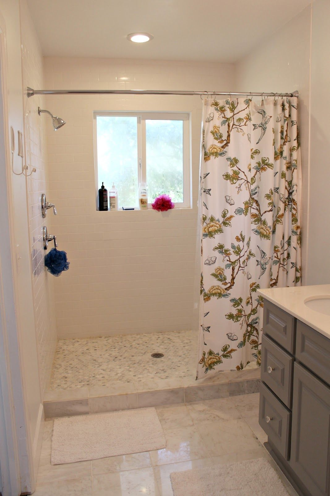small walk in shower with curtain – Google Search